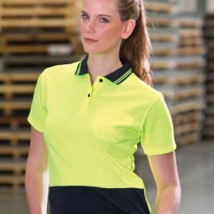 Ladies Hi Vis Polo Shirt Lime Black Short Sleeve By Loop Workwear NZ