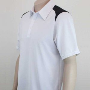 Shoulder Contrast White Black Polo By Loop Workwear NZ
