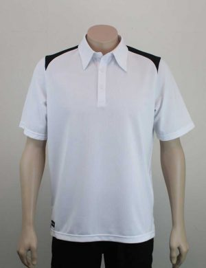 Shoulder Contrast White Black Polo Front By Loop Workwear NZ