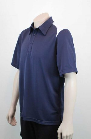 Shoulder Contrast Navy White Polo Side By Loop Workwear NZ