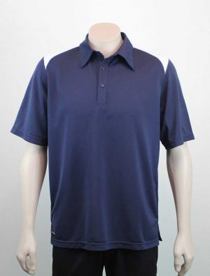 Shoulder Contrast Navy White Polo By Loop Workwear NZ