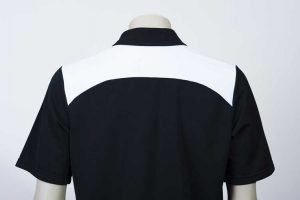 Shoulder Contrast Black White Polo Back By Loop Workwear NZ