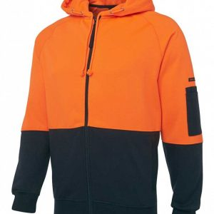 6HVHON_2 Hi Vis Zip Hoodie Orange Black By Loop Workwear