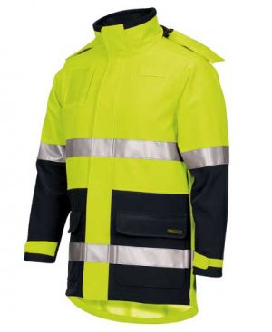 Hi Vis Day Night Soft Shell Industry Jacket Yellow Side By Loop Workwear NZ