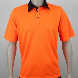 Eco Hi Vis Polo Short Sleeves Orange BlackBy Loop Workwear NZ