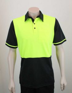 Hi Vis Panel Polo Lime Black By Loop Workwear NZ