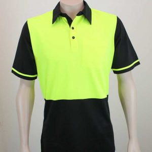 Hi Vis Recycled Polyester Polo Lime Black By Loop Workwear NZ