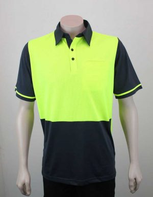 Hi Vis Panel Polo Lime Charcoal By Loop Workwear NZ