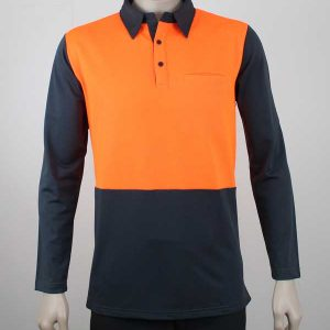 Hi Vis Panel Polo Long Sleeves Orange Charcoal By Loop Workwear NZ