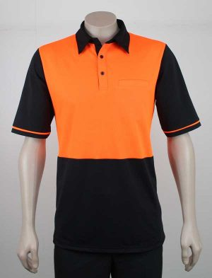 Hi Vis Panel Polo Orange Black By Loop Workwear NZ