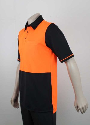 Hi Vis Panel Polo Short Sleeves Orange Black Side By Loop Workwear NZ