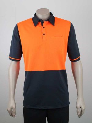 Hi Vis Panel Polo Short Sleeves Orange Charcoal By Loop Workwear NZ