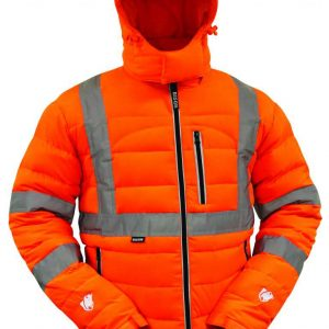 Bison Hi Vis Day Night Puffer Jacket Orange By Loop Workwear NZ