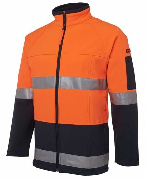Hi Vis Soft Shell Jacket Orange Black By Loop Workwear NZ