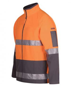 Hi Vis Soft Shell Jacket Orange Charcoal y Loop Workwear NZ