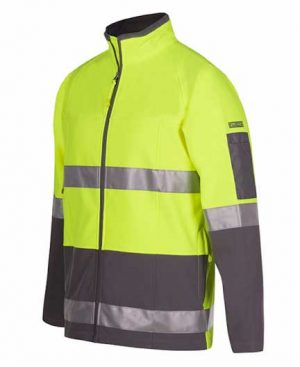Hi Vis Soft Shell Jacket Yellow Charcoal By Loop Workwear NZ