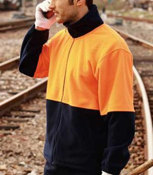 SJ1238 Full Zip Hi Vis Fleece Jacket Orange Navy By Loop Workwear NZ