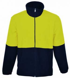 Full Zip Hi Vis Fleece Jacket Yellow Navy By Loop Workwear NZ