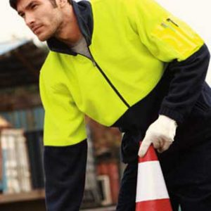 SJ1240-YLW-NVY Half Zip Hi Vis Fleece By Loop Workwear NZ
