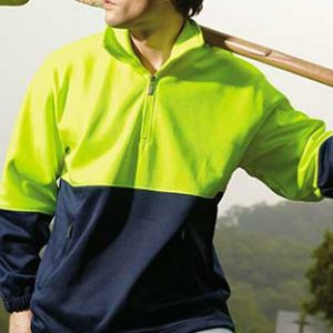SJ0411 Hi Vis Zip Safety Fleece Yellow By Loop Workwear NZ