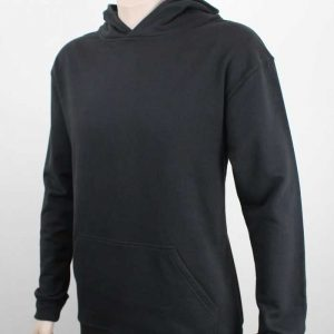 100% Cotton Hoodie Black Side By Loop Workwear NZ
