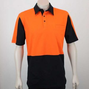 100% Cotton Hi Vis Panel Polo SS Orange Black Front By Loop Workwear NZ