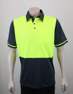 Hi Vis Panel Polo Shirt Short Sleeve