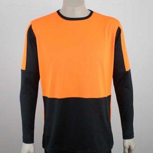 Hi Vis Panel Tee Long Sleeve Orange Black By Loop Workwear NZ
