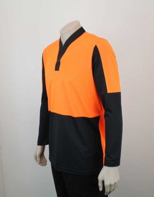 Hi Vis Relief Shirt Long Sleeve Orange n Black Side By Loop Workwear NZ