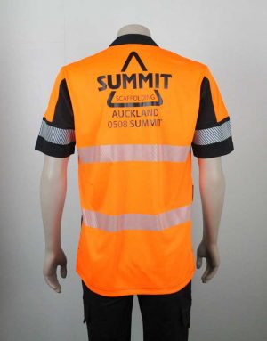 Hi Vis Relief Shirt Short Sleeve Orange n Black Back Branded By Loop Workwear NZ