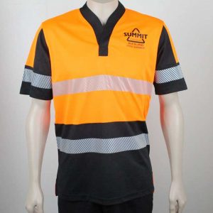 Hi Vis Relief Shirt Short Sleeve Orange n Black Front Branded By Loop Workwear NZ