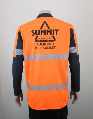 Hi Vis Relief Shirt Long Sleeve Orange n Black Branded By Loop Workwear NZ