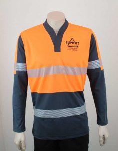 Hi Vis Relief Shirt Long Sleeve Orange n Black from Front By Loop Workwear NZ