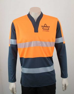 Hi Vis Relief Shirt Long Sleeve Orange n Black from Front By Loop Workwear NZ