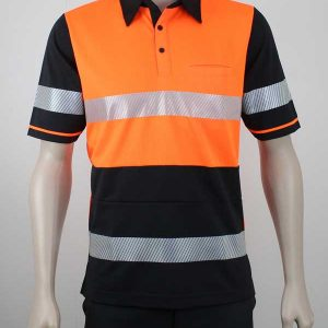 Hi Vis Panel Polo with Zebra Reflective Tape Orange Black By Loop Workwear NZ