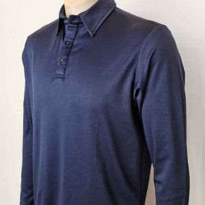 Bio Cotton Long Sleeve Polo Navy By Loop Workwear NZ