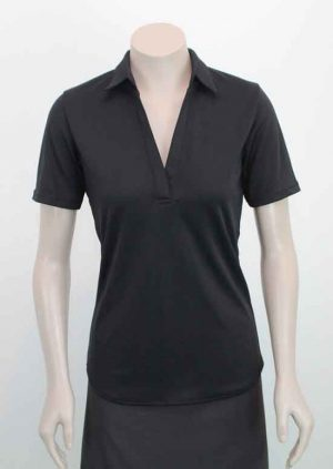 Ava Self Stripe Recycled Polyester Polo In Black Loop Workwear NZ