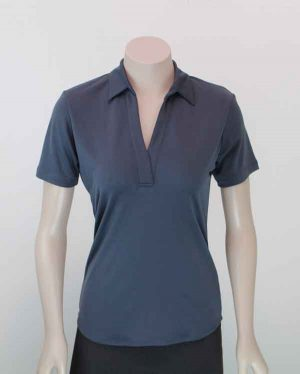 Ava Self Stripe Recycled Polyester Polo Charcoal Front View