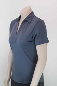 Ava Self Stripe Recycled Polyester Polo Charcoal