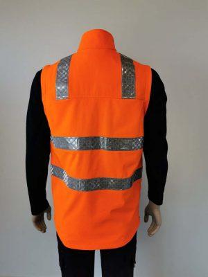Hi Vis Softshell Vest Orange Back View