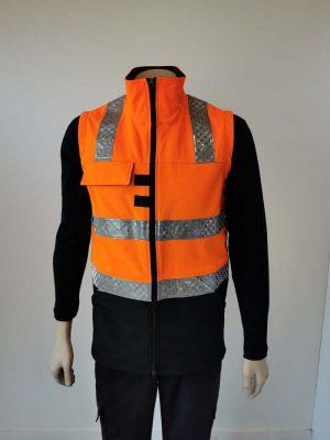 Hi Vis Softshell Vest Orange Black