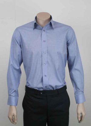 Big Men's Business Shirt In Chambray Blue