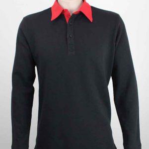Long Sleeve Rugby Shirt Black