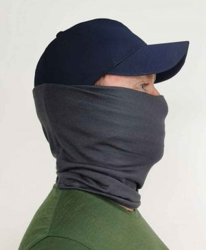 Merino Wool Neck Gaiter in Charcoal Side View