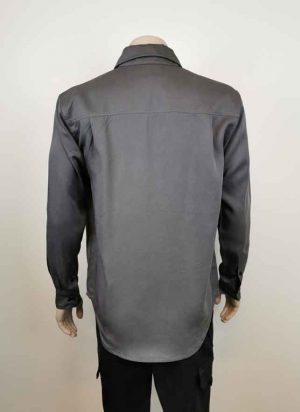 Long Sleeve Work Shirt Charcoal Grey Back