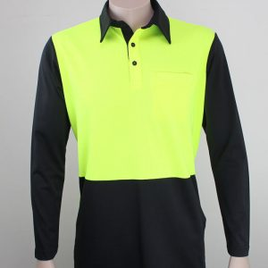 Hi Vis Polo Long Sleeve Lime