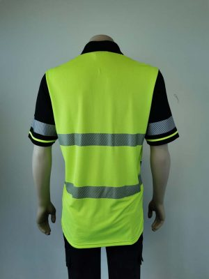 Hi Vis Polo With Segmented Tape Back View
