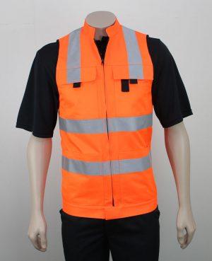 Hi Vis Vest Day Night with Pockets in Orange