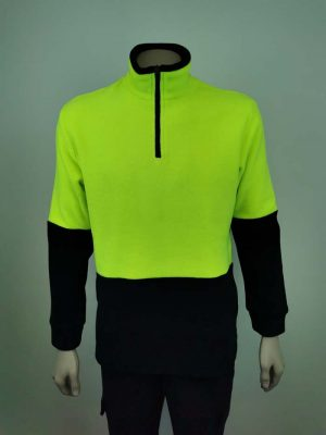 Hi Vis Fleece Pullover Lime Green Black