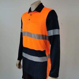 Hi Vis Polo Long Sleeve With Segmented Reflective Tape